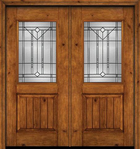 WDMA 60x80 Door (5ft by 6ft8in) Exterior Cherry Alder Rustic V-Grooved Panel 1/2 Lite Double Entry Door Riverwood Glass 1