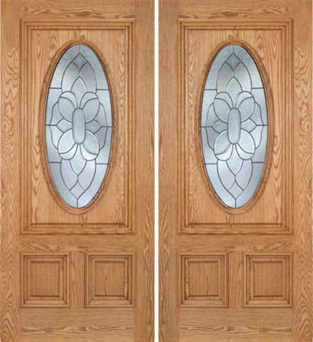WDMA 60x80 Door (5ft by 6ft8in) Exterior Oak Watson Double Door w/ BO Glass 1