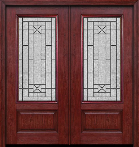 WDMA 60x80 Door (5ft by 6ft8in) Exterior Cherry 3/4 Lite 1 Panel Double Entry Door Courtyard Glass 1