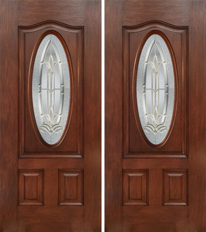 WDMA 60x80 Door (5ft by 6ft8in) Exterior Mahogany Oval Three Panel Double Entry Door BT Glass 1
