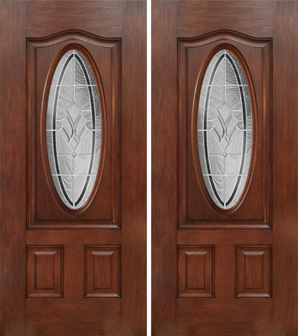 WDMA 60x80 Door (5ft by 6ft8in) Exterior Mahogany Oval Three Panel Double Entry Door RA Glass 1