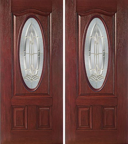 WDMA 60x80 Door (5ft by 6ft8in) Exterior Cherry Oval Three Panel Double Entry Door BT Glass 1