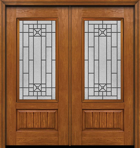 WDMA 60x80 Door (5ft by 6ft8in) Exterior Cherry Plank Panel 3/4 Lite Double Entry Door Courtyard Glass 1