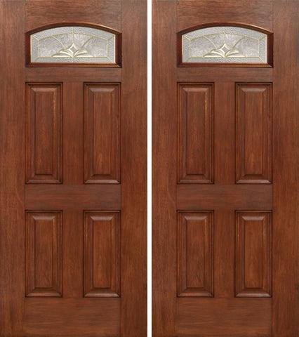 WDMA 60x80 Door (5ft by 6ft8in) Exterior Mahogany Camber Top Double Entry Door HM Glass 1