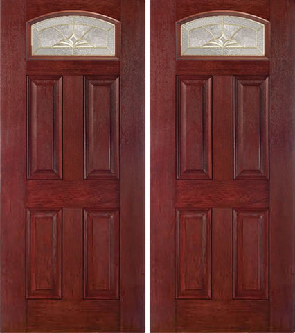 WDMA 60x80 Door (5ft by 6ft8in) Exterior Cherry Camber Top Double Entry Door HM Glass 1
