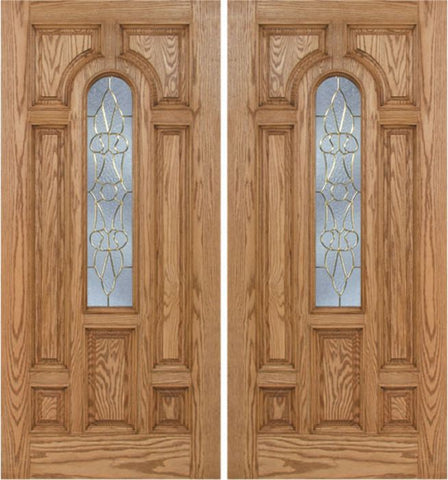WDMA 60x80 Door (5ft by 6ft8in) Exterior Oak Carrick Double Door w/ OL Glass - 6ft8in Tall 1