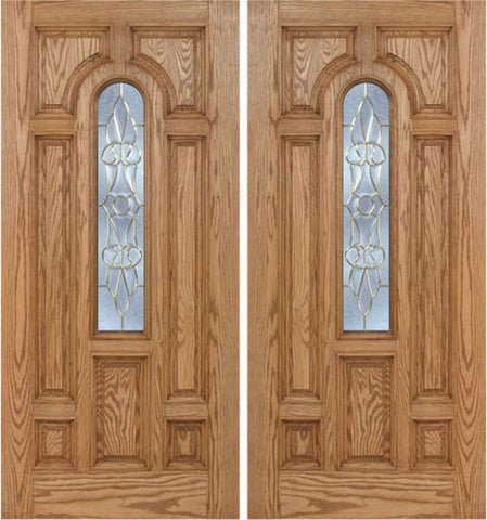 WDMA 60x80 Door (5ft by 6ft8in) Exterior Oak Carrick Double Door w/ L Glass - 6ft8in Tall 1