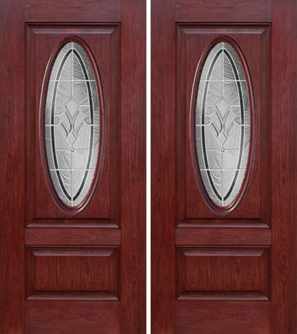 WDMA 60x80 Door (5ft by 6ft8in) Exterior Cherry Oval Two Panel Double Entry Door RA Glass 1