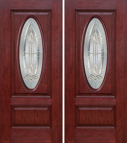 WDMA 60x80 Door (5ft by 6ft8in) Exterior Cherry Oval Two Panel Double Entry Door BT Glass 1
