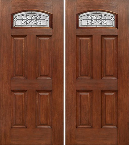 WDMA 60x80 Door (5ft by 6ft8in) Exterior Mahogany Camber Top Double Entry Door CD Glass 1