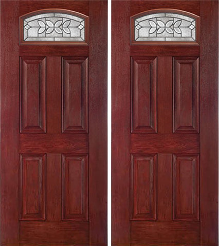 WDMA 60x80 Door (5ft by 6ft8in) Exterior Cherry Camber Top Double Entry Door CD Glass 1