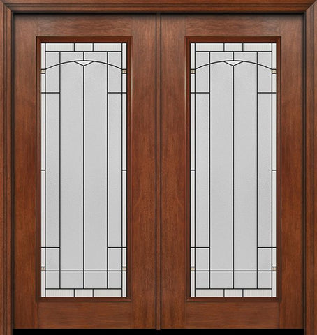 WDMA 60x80 Door (5ft by 6ft8in) Exterior Mahogany Full Lite Double Entry Door Topaz Glass 1