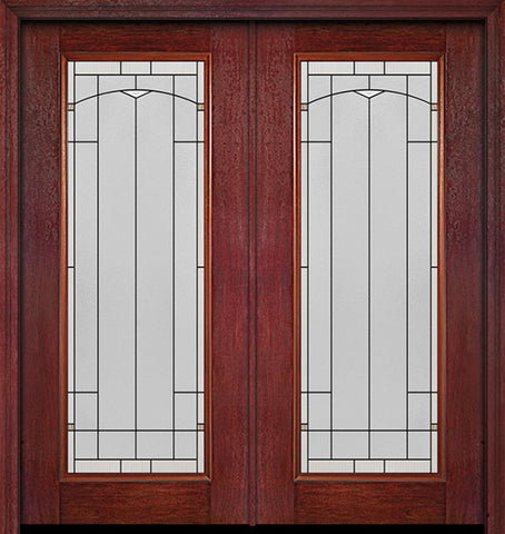 WDMA 60x80 Door (5ft by 6ft8in) Exterior Cherry Full Lite Double Entry Door Topaz Glass 1