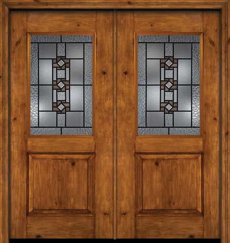 WDMA 60x80 Door (5ft by 6ft8in) Exterior Cherry Alder Rustic Plain Panel 1/2 Lite Double Entry Door Mission Ridge Glass 1