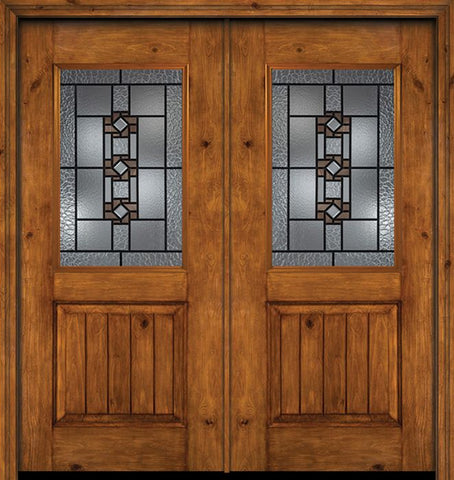WDMA 60x80 Door (5ft by 6ft8in) Exterior Cherry Alder Rustic V-Grooved Panel 1/2 Lite Double Entry Door Mission Ridge Glass 1