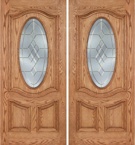 WDMA 60x80 Door (5ft by 6ft8in) Exterior Oak Dally Double Door w/ A Glass - 6ft8in Tall 1
