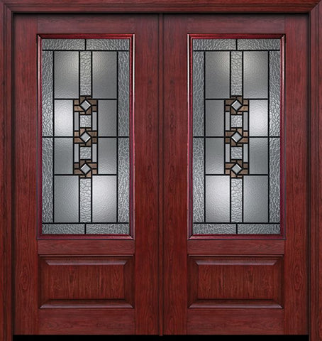 WDMA 60x80 Door (5ft by 6ft8in) Exterior Cherry 3/4 Lite 1 Panel Double Entry Door Mission Ridge Glass 1