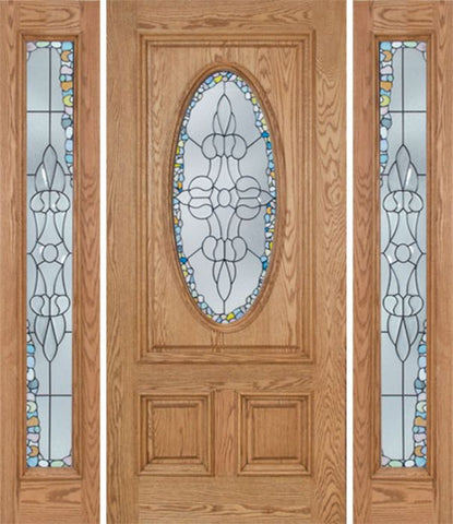 WDMA 60x80 Door (5ft by 6ft8in) Exterior Oak Watson Single Door/2side w/ Tiffany Glass 1