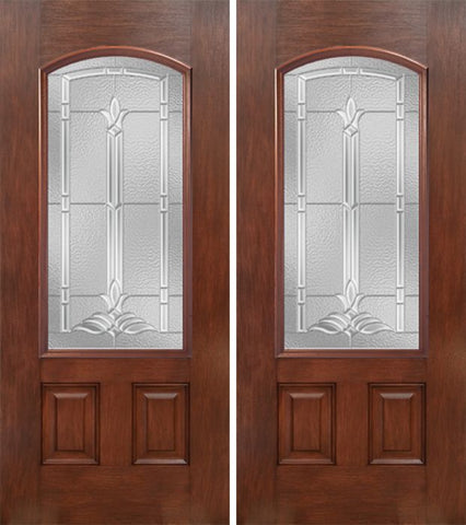 WDMA 60x80 Door (5ft by 6ft8in) Exterior Mahogany Camber 3/4 Lite Double Entry Door BT Glass 1