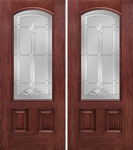 WDMA 60x80 Door (5ft by 6ft8in) Exterior Cherry Camber 3/4 Lite Two Panel Double Entry Door BT Glass 1