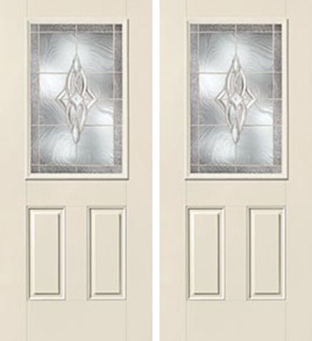 WDMA 60x80 Door (5ft by 6ft8in) Exterior Smooth Wellesley Half Lite 2 Panel Star Double Door 1
