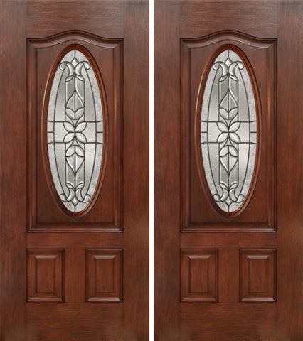 WDMA 60x80 Door (5ft by 6ft8in) Exterior Mahogany Oval Three Panel Double Entry Door CD Glass 1