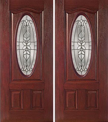 WDMA 60x80 Door (5ft by 6ft8in) Exterior Cherry Oval Three Panel Double Entry Door CD Glass 1