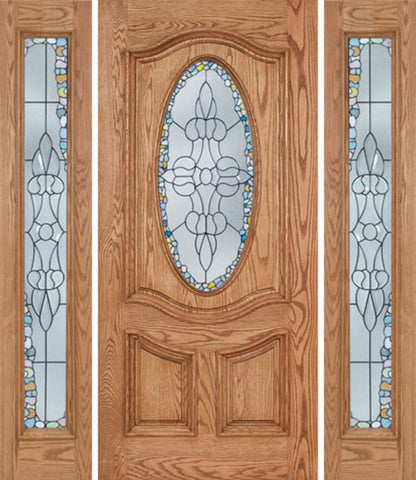 WDMA 60x80 Door (5ft by 6ft8in) Exterior Oak Dally Single Door/2side w/ Tiffany Glass - 6ft8in Tall 1