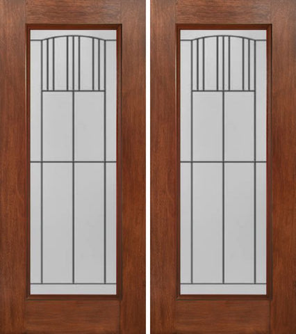 WDMA 60x80 Door (5ft by 6ft8in) Exterior Mahogany Full Lite Double Entry Door MI Glass 1