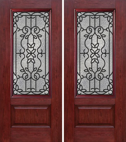 WDMA 60x80 Door (5ft by 6ft8in) Exterior Cherry 3/4 Lite 1 Panel Double Entry Door MD Glass 1
