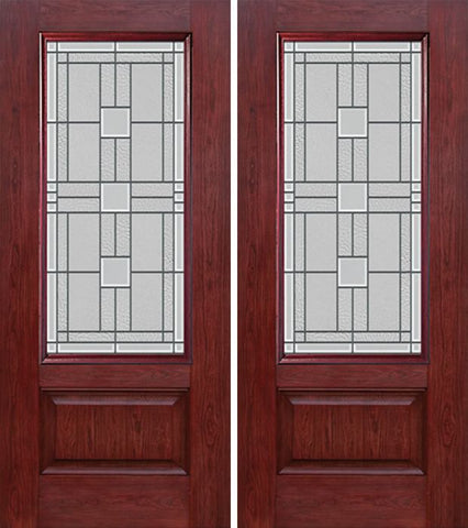 WDMA 60x80 Door (5ft by 6ft8in) Exterior Cherry 3/4 Lite 1 Panel Double Entry Door MO Glass 1