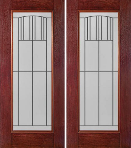 WDMA 60x80 Door (5ft by 6ft8in) Exterior Cherry Full Lite Double Entry Door MI Glass 1