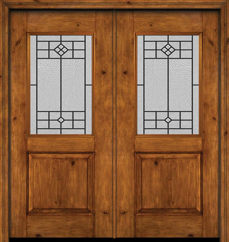 WDMA 60x80 Door (5ft by 6ft8in) Exterior Cherry Alder Rustic Plain Panel 1/2 Lite Double Entry Door Beaufort Glass 1
