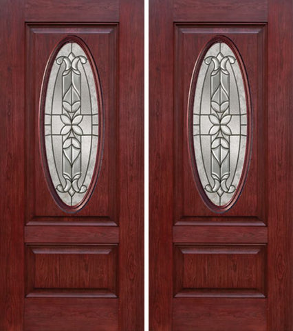 WDMA 60x80 Door (5ft by 6ft8in) Exterior Cherry Oval Two Panel Double Entry Door CD Glass 1