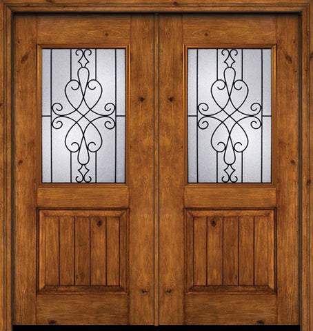 WDMA 60x80 Door (5ft by 6ft8in) Exterior Cherry Alder Rustic V-Grooved Panel 1/2 Lite Double Entry Door Wyngate Glass 1