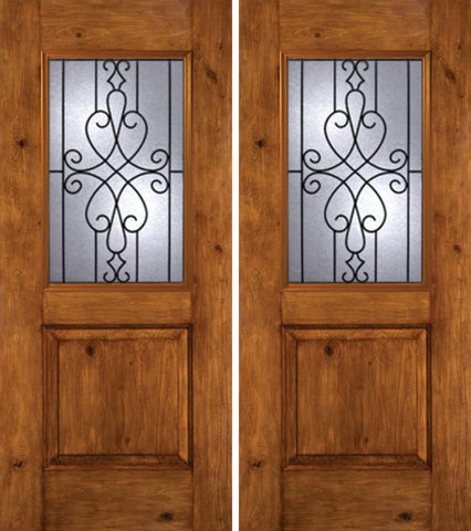 WDMA 60x80 Door (5ft by 6ft8in) Exterior Knotty Alder Alder Rustic Plain Panel Double Entry Door WY Glass 1