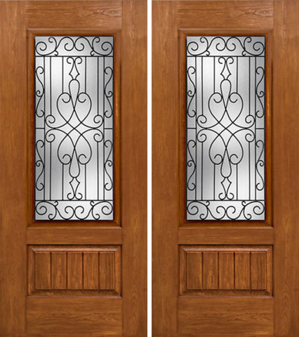 WDMA 60x80 Door (5ft by 6ft8in) Exterior Cherry Plank Panel 3/4 Lite Double Entry Door WY Glass 1