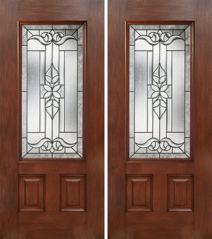 WDMA 60x80 Door (5ft by 6ft8in) Exterior Mahogany 3/4 Lite Double Entry Door CD Glass 1