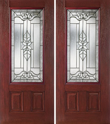 WDMA 60x80 Door (5ft by 6ft8in) Exterior Cherry 3/4 Lite Two Panel Double Entry Door CD Glass 1