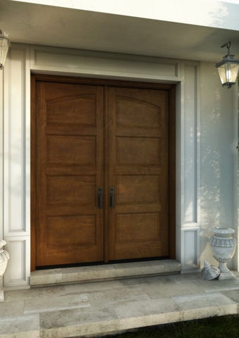 WDMA 60x80 Door (5ft by 6ft8in) Exterior Barn Mahogany Arch Top 4 Panel Transitional or Interior Double Door 1