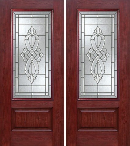 WDMA 60x80 Door (5ft by 6ft8in) Exterior Cherry 3/4 Lite 1 Panel Double Entry Door WS Glass 1