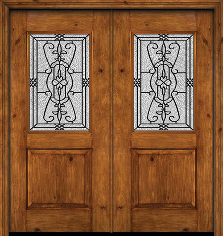 WDMA 60x80 Door (5ft by 6ft8in) Exterior Cherry Alder Rustic Plain Panel 1/2 Lite Double Entry Door Jacinto Glass 1