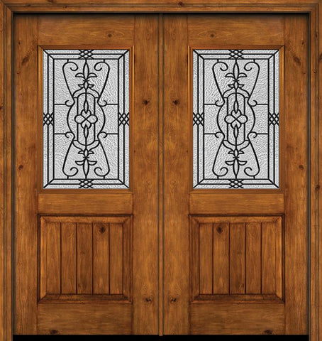 WDMA 60x80 Door (5ft by 6ft8in) Exterior Cherry Alder Rustic V-Grooved Panel 1/2 Lite Double Entry Door Jacinto Glass 1