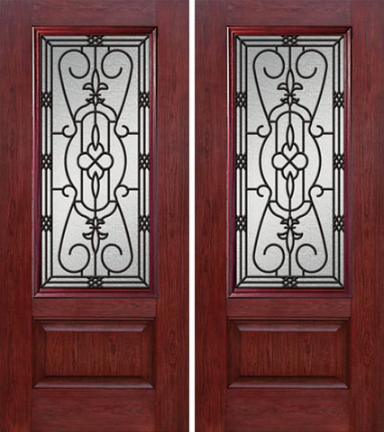 WDMA 60x80 Door (5ft by 6ft8in) Exterior Cherry 3/4 Lite 1 Panel Double Entry Door JA Glass 1