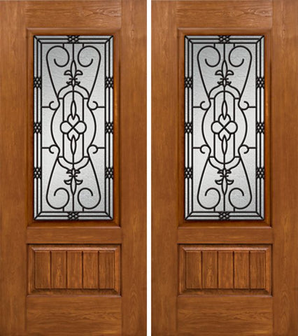WDMA 60x80 Door (5ft by 6ft8in) Exterior Cherry Plank Panel 3/4 Lite Double Entry Door 3/4 Lite w/ MD Glass 1