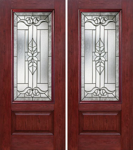 WDMA 60x80 Door (5ft by 6ft8in) Exterior Cherry 3/4 Lite 1 Panel Double Entry Door CD Glass 1