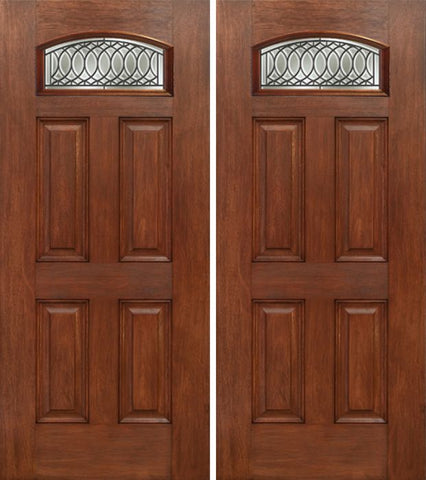 WDMA 60x80 Door (5ft by 6ft8in) Exterior Mahogany Camber Top Double Entry Door PS Glass 1
