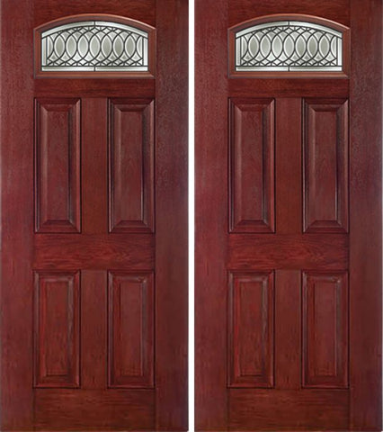 WDMA 60x80 Door (5ft by 6ft8in) Exterior Cherry Camber Top Double Entry Door PS Glass 1