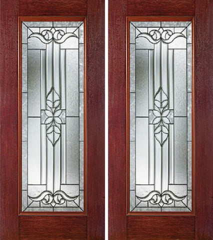 WDMA 60x80 Door (5ft by 6ft8in) Exterior Cherry Full Lite Double Entry Door CD Glass 1
