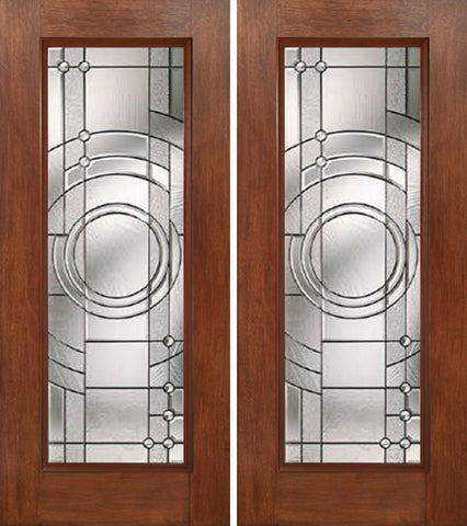 WDMA 60x80 Door (5ft by 6ft8in) Exterior Mahogany Full Lite Double Entry Door EN Glass 1